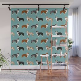 Australian Shepherd owners dog breed cute herding dogs aussie dogs animal pet portrait hearts Wall Mural
