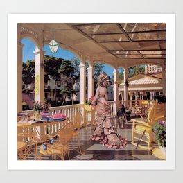 Vintage woman on porch Art Print