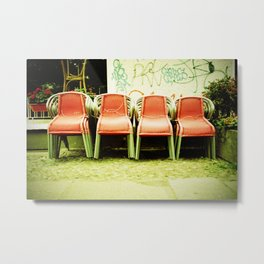 Cross Chairs Metal Print