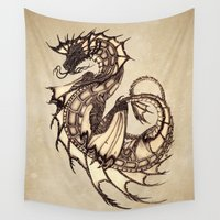 mythology Wall Tapestries featuring Tsunami Sea Dragon by River Dragon Art