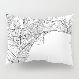 Malaga Map White Pillow Sham
