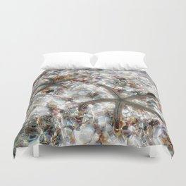 Starfish and Seashells by Barbara Chichester Paintographer Duvet Cover