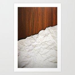 Wooden Crumbled Paper Art Print