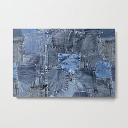 Blue Jeans Pocket Patchwork Pattern Metal Print