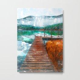 Wooden Jetty Serene Lake In Romania - Jetties Around The World Metal Print