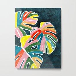 Monstera leaves acrylic Metal Print