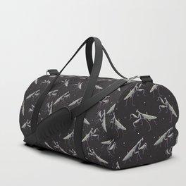 praying mantis and white dots pattern Duffle Bag