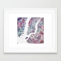 new york map Framed Art Prints featuring New York map by MapMapMaps.Watercolors