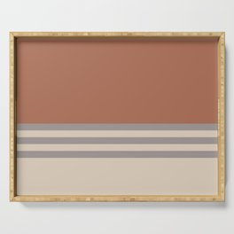 Slate Violet Gray SW9155 and Creamy Off White SW7012 Horizontal Stripes on Cavern Clay SW 7701 Serving Tray