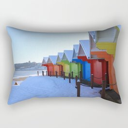 Beach Huts in the Snow Rectangular Pillow