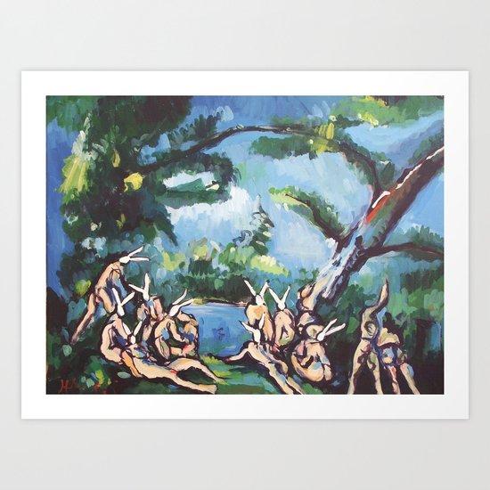 The Rabbit Bathers Art Print