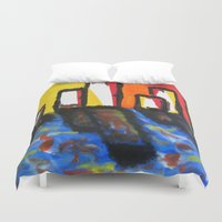 depression Duvet Covers featuring Depression Begins by Greg Mason Burns