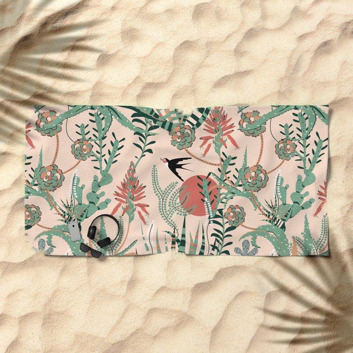 Succulents Jungle Beach Towel