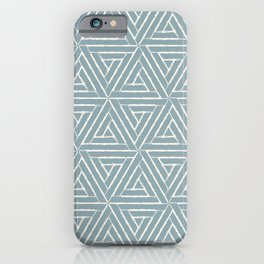 Cream & Pale Denim Blue Aztec Tribal Triangle Pattern Pairs To 2020 Color of the Year Good Jeans iPhone Case