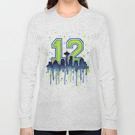 Seattle 12th Man Art Seattle Skyline Space Needle Long Sleeve T-shirt