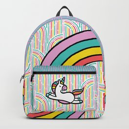 Magical Disco Unicorn Dancing on Sparkling Rainbows Backpack