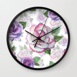 Hand painted lavender purple watercolor roses flowers Wall Clock