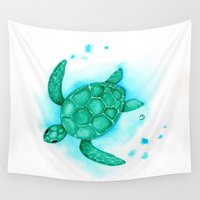 nursery Wall Tapestries featuring Nursery Style Sea Turtle by BevyArt