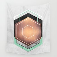 hexagon Wall Tapestries featuring Hexagon Abstract #1 by Elisabeth Fredriksson