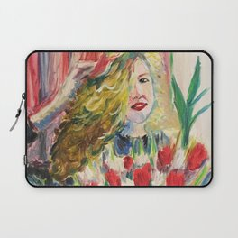 Portrait with tulips Laptop Sleeve