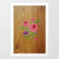 Folk Art Floral on Light Wood Art Print