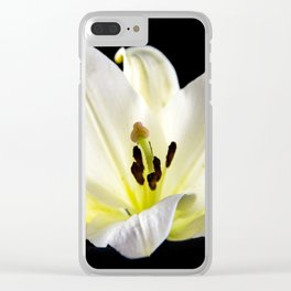 Large White Lily-2 Clear iPhone Case