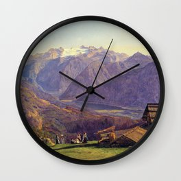 Ferdinand Georg Waldmüller View of the Dachstein with the Hallstättersee from the Hütteneckalpe at I Wall Clock