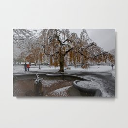 Boston Garden, First snow of the season Metal Print
