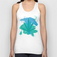 water colour Tank Tops featuring Water Colour Leaf by sstonnedd