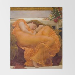 Flaming June Oil Painting by Frederic Lord Leighton Throw Blanket