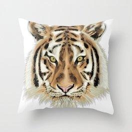 Stylized Tiger Portrait Throw Pillow
