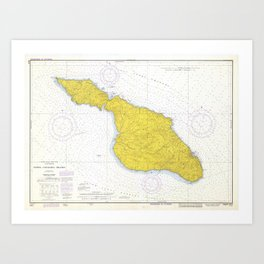 Vintage Map of Santa Catalina Island CA (1972) Art Print