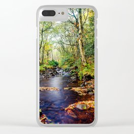 Autumn stream running into Agden Bog Nature Reserve Clear iPhone Case