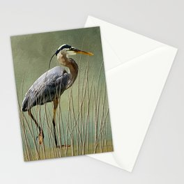 Great Blue At The Beach Stationery Cards