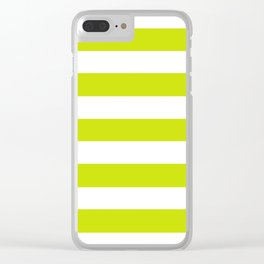 Bitter lemon - solid color - white stripes pattern Clear iPhone Case