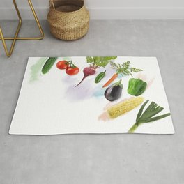 Digital Painting of  Fresh Vegetables Rug