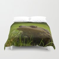 frog Duvet Covers featuring Frog by Sierra Whiskey Bravo