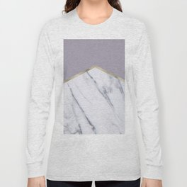 Smokey lilac - gold geometric marble Long Sleeve T-shirt