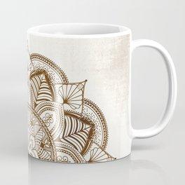 Mandala Brown Floral Pattern on Beige Background Coffee Mug
