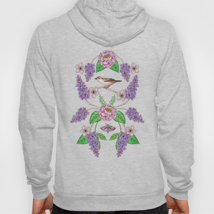 Lilacs, Peonies, Hellebore, & Sparrows - Pink & Purple Flowers w/ Birds & Moths Hoody