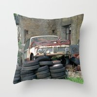 bmw Throw Pillows featuring Old BMW Wreck by Premium