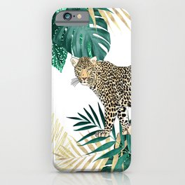 Modern leopard and tropical leaves design iPhone Case