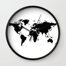Black World Map Wall Clock