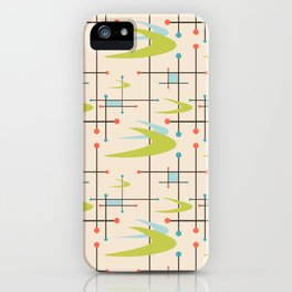 Mid Century Modern in Lime and Blush iPhone Case
