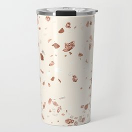Rose Gold and Cream Terrazzo Travel Mug