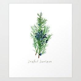 Joyful Juniper Plant Watercolor Painting Illustration Art Print