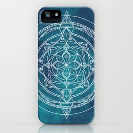 White Mandala - Dusky Blue/Turquoise iPhone Case