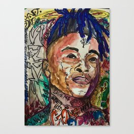 X,rapper,rip,hiphop,music icon,lyrics,colourful poster,dope,wall art,cool,shirt Canvas Print