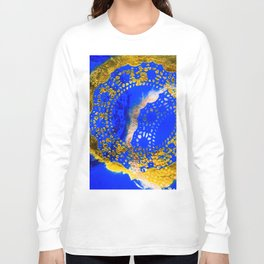 Royal Blue and Gold Abstract Lace Design Long Sleeve T-shirt