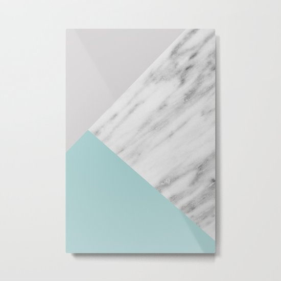 Ice Color Marble Collage Metal Print
